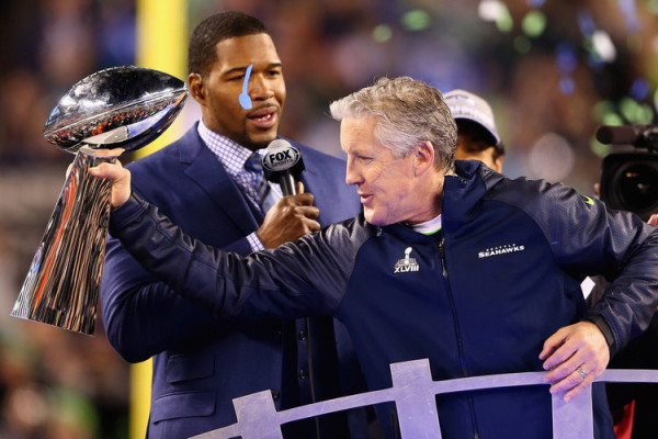 Michael Strahan and Pete Carroll