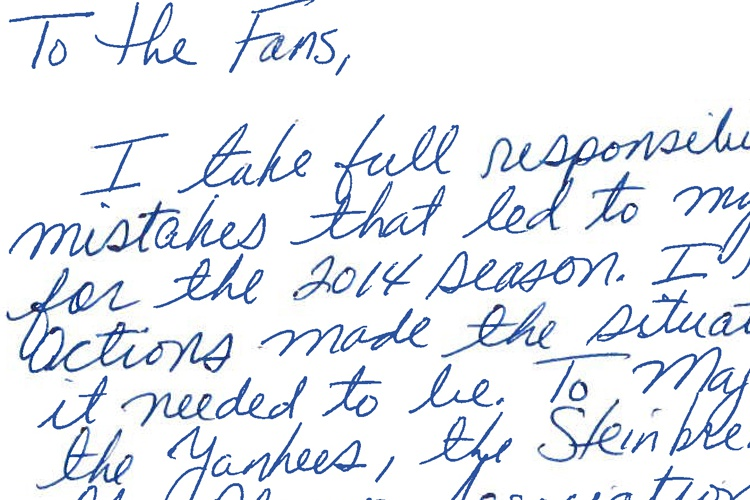 Alex Rodriguez Apology Letter