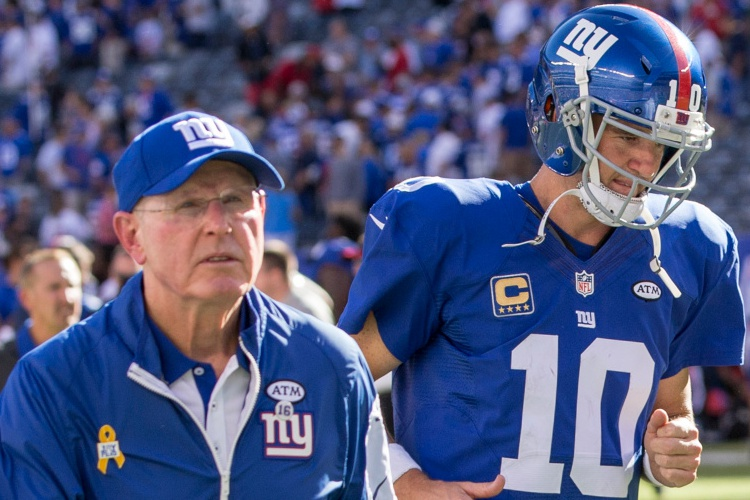 Tom Coughlin and Eli Manning